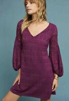 MAEVE Anthropologie Laila Purple Lace Balloon Sleeve Mini Dress Size XS