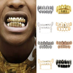 Gold Teeth Grillz Top&Bottom Grills Dental Mouth Teeth Caps Cosplay Tooth Rapper