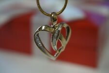 And Baguette Diamonds Heart Pendant Cute! Solid 10K Yellow Gold Natural Round