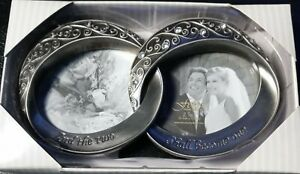 """Fetco """"And The Two Shall Become One"""" Wedding Double Rings Picture Frame NEW/Box"""