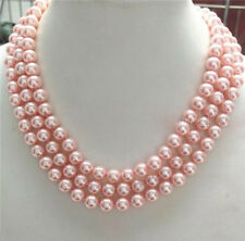 """Charming Genuine 8mm Pink South Sea Shell Pearl Necklace 50"""" Long JN921"""