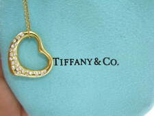 Tiffany & Co Elsa Peretti Diamante Colgante Corazón Abierto Oro Amarillo 0.70Ct