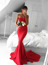 Red Simple Satin Mermaid Party prom Evening Long Pageant Bridesmaid Dress Custom
