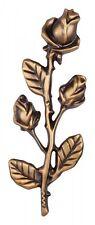 Rose bronzefarben Grabrelief Rose Metallguss Grabmal Grabstein Ornament