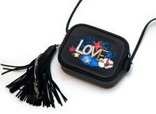 NWT Yves Saint Laurent Black Leather Love Blogger Minibag Crossbody Tassel Bag