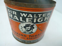 VINTAGE Mid Century Sir Walter Raleigh Smoking Tobacco Tin Can No Lid Rusted