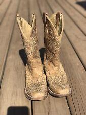 Womens 7.5 M Corral Vintage Cross Rhinestone Tan Square Toe Western Cowboy Boots