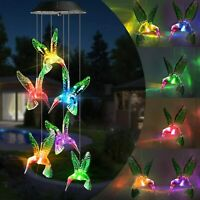 Color Changing Solar Powered LED Hummingbird Wind Chimes Light Garden Decor Lamp