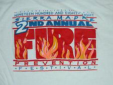Vtg 1980s SIERRA MADRE FIRE PREVENTION FESTIVAL Fire Fighters T Shirt XL Fireman