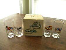 Very Rare! Vintage Avon Set of 4 12 oz. Drinking Glasses with Car Design
