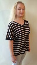NEW Brown Sugar black ivory striped short sleeved tee top size 16 NWT