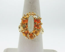 Vintage Estate Handmade Natural White Jelly Fire Opal Solid 14k Yellow Gold Ring
