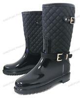 Womens Rain Boots Rubber Adjustable Buckle Fashion Waterproof Mid Calf Snow Shoe