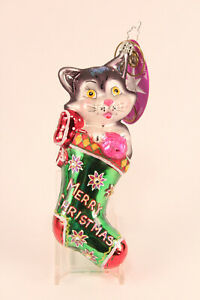 Christopher Radko Me-Ow Surprise Kitten Cat in Stocking Xmas Ornament 3011075