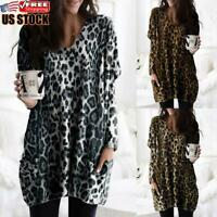 Womens Leopard Long Sleeve Casual Blouse Tops Baggy Loose Pullover Tunic T-Shirt