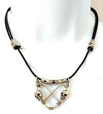 Biker Goth SKULL CHARM HEART CHOKER Necklace Collar Thong Chain Leather Pendant