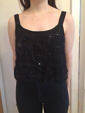 Black Sequin Beaded Vest Cropped Top Size 14