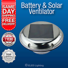NEW Solar Powered Exhaust Fan Intake Vent  2 Speed + Reverse Day Night Battery