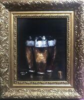 Vintage Original Ölgemälde Bier  Bière Impressionismus Realismus Rahmen Dänhardt