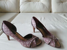 Louis Vuitton Monogram Idylle Burgundy Denim Half D'orsay Pumps Heels 39
