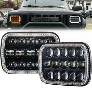 "Pair 110W 5X7"" Headlight 7x6'' LED Headlight For Jeep Cherokee XJ Wrangler YJ"