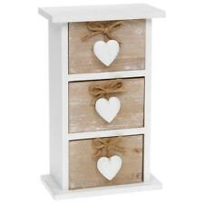 Wooden Storage Heart Design Small Draw Chest Unit Triple Drawers 32000