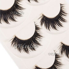 Soft 5 Pairs Makeup Thick False Eyelashes Eye Lashes Long Black Nautral Handmade