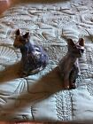 """Vintage primitive molded pottery lCats (2) glazed 5"""" & 4.5""""figurines  hand made"""