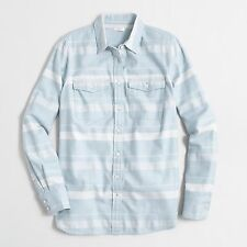 J Crew Factory - Womens PXS - NWT - Tonal Blue Engineered Striped Flannel Shirt