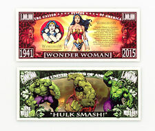 Set of 2 diff. fantasy paper money Wonder Woman and The Hulk