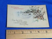 Early 1900s Antique Postcard A Happy Xmas Over The Hills & Far Away VTG House