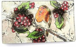 Double Tea Light Holder Robin on a Holly Bush with Red Berries