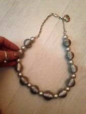 Contemporary Designer Chunky ball Link Silver tone faux cord  pearl Necklace £45