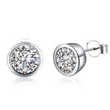 Women's Round Zircon Ear Studs Earrings  Silver Plated  Fashion Jewelry New