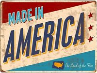"""Made in America 8"""" x 12"""" Metal Novelty Sign Aluminum TIN ART Vintage"""