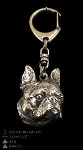 Boston Terrier, silver covered keyring, high qauality keychain Art Dog