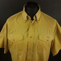 Lacoste Mens Vintage Shirt 44 (2XL) Short Sleeve Mustard Regular Fit Pockets