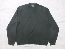 Eddie Bauer 100% Cotton Men's Large Dark Green Knit Sweater Size L w/Small Patch