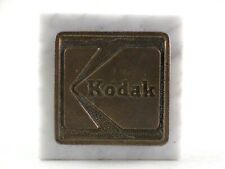 "Vintage Kodak Brass Bronze Cast Metal Logo & Marble Paper Weight - 2"" Square"