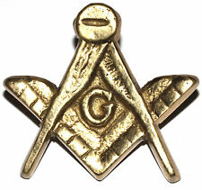 Vintage Antique ? Gold Tone Bronze ? Masonic Compass Car Grill Badge Emblem