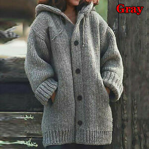 Plus Size Women Loose Hooded Knit Cardigan Sweater Winter Fall Warm Coat Jacket