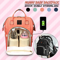 Mummy Diaper Bag Large Capacity USB Port Nappy Baby Travel Backpack