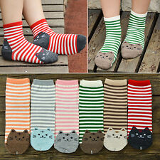 Women's Cute 3D Cartoon Striped Socks Cat Footprints Cotton Ankle Socks Novelty