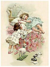 Sweet Girls~Lamb Toy~Vintage Image FABRIC BLOCK~Pink Roses Bedspread~Pillow~FB80