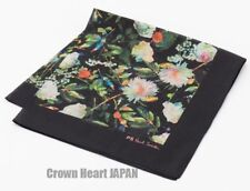 New PS Paul Smith Painted Floral Print Handkerchief Cotton Japan-Made Black 48cm