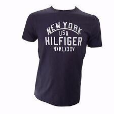 Tommy Hilfiger T-Shirt Gr.S Rundhals Round-Neck Shirt Hilfiger Blau Weiß Logo