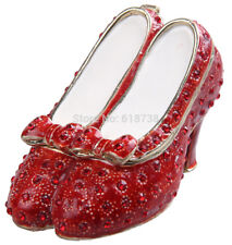 Hand Painted Dorothy's Ruby Slippers Limoges Style Box, gold and crystals, Oz