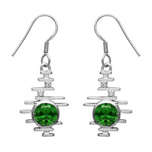 Vintage Style Green Cz 925 Sterling Silver Valentine's Earring Jewelry