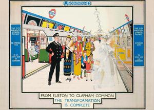 From Euston to Clapham, 1924, Art Deco English Travel London Underground Poster