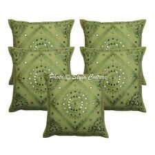 Cotton Abstract Indian Pillow Case Cover Embroidery Mirror Cushion Cover Throw